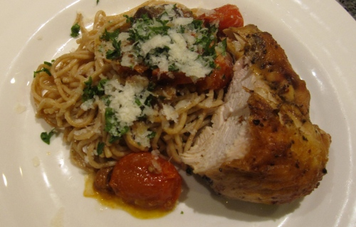 Roasted Eggplant and Cherry Tomato Pasta with Roasted Chicken